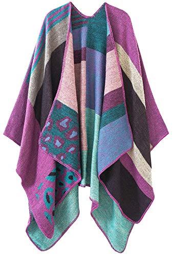 Shmily Girl Wendbarer Poncho, übergroß, warm, mit offener Vorderseite, bedruckte Decke, Weste Gr. One size, Leopard/Violett