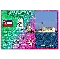 ミシシッピ州状態Factsポストカードのセット20identicalはがき。Post Cards with MS事実と状態シンボル。Made In USA。