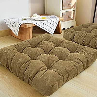 HIGOGOGO Floor Pillow, Square Meditation Pillow for Seating on Floor Solid Thick Tufted Seat Cushion Meditation Cushion for Yoga Living Room Sofa Balcony Outdoor, Olive Green, 22x22 Inch