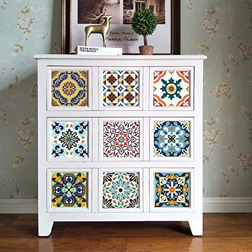 Zelfklevende PVC-stickertegels, retro tegelstickers, waterdicht, decoratieve tegelfolie voor keuken, badkamer, woonkamer en vloer
