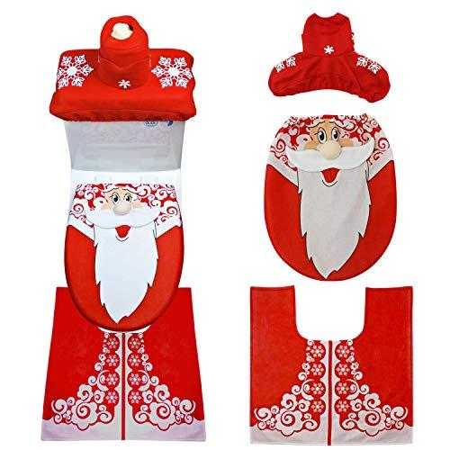 Boodtag Weihnachten Toilettensitzbezüge Set, 4pcs, Weihnachtsdeko WC-Sitze Set Weihnachtsmann Seat Pad Nicolas, in 3 Formen