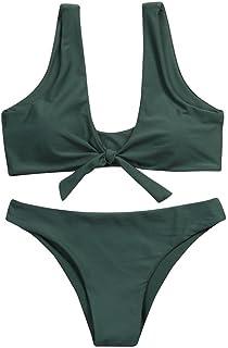 235f8e36377d NINGSUN_Swimwear Donna Colore Puro Costume da Bagno Diviso Bikini,NINGSUN  Donne Push Up con Pantaloncino