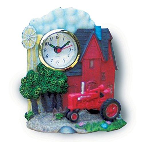 Key Enterprises, Inc. Farmall Tractor Red Barn & Windmill Resin Alarm Clock 02100