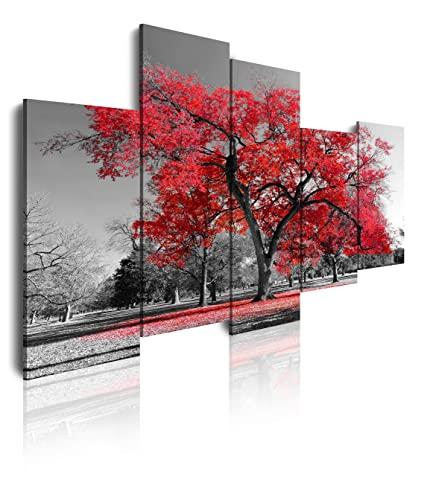 DekoArte 16 - Cuadros Modernos Impresión de Imagen Artística Digitalizada | Lienzo Decorativo Para Tu Salón o Dormitorio | Estilo Paisaje Árboles Rojos Naturaleza | 5 Piezas 150 x 95 cm