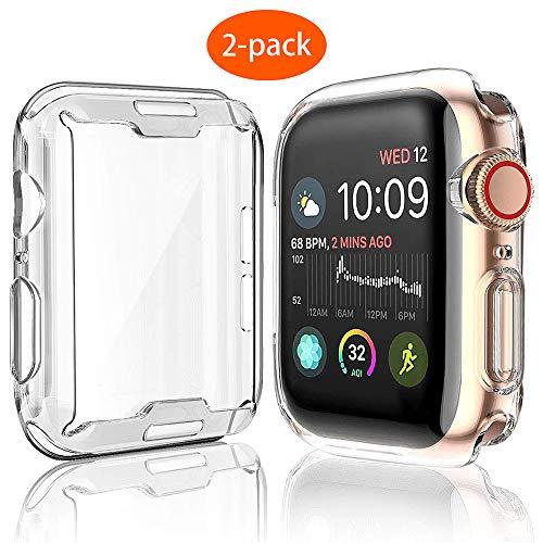 UEEBAI Hülle für Apple Watch Series 5/4 44mm, [2 Stück] Premium Weich TPU-Gehäuse iWatch Case Silikon Abdeckung Displayschutz 360° Rundum Schutzhülle Ultradünn Kantenschutz Anti-Kratzen - Durchsichtig