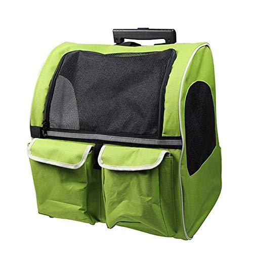 YYhkeby La Bolsa del Animal doméstico del Animal Grande de la Carretilla Carro for Perros Cochecito Mochila for cochecitos (Mascotas de hasta 20 kg) Portable Verde Jialele