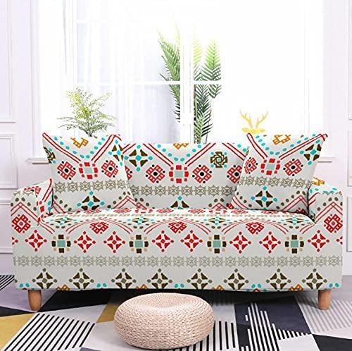 Flor roja Blanca Funda de sofá de 4 Plazas Funda Elástica para Sofá Poliéster Suave Sofá Funda sofá Antideslizante Protector Cubierta de Muebles Elástica