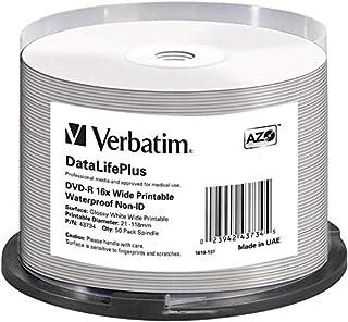 Verbatim 43734 DVD-R Blanks 4.7 GB DL 16x Waterproof Surface Spindle (Pack of 50)