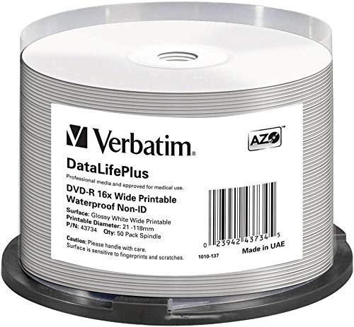 Verbatim DVD-R - 4.7 GB, 16-fache Brenngeschwindigkeit mit DataLifePlus, Wasserfest bedruckbar, 50er Pack Spindel