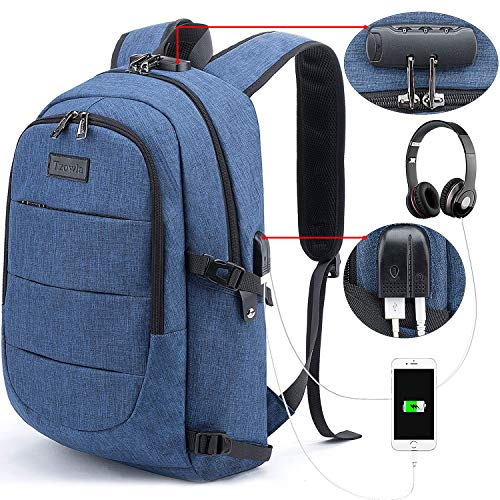 Tzowla Business Laptop Backpack Anti-Theft College Backpack with USB Charging Port and Lock 15.6 Inch Computer Backpacks for Women Men, Casual Hiking Travel Daypack (Blue)