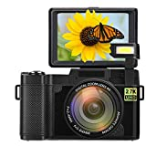 Digital Camera Vlogging Camera 2.7K Ultra HD 24MP Video Camera for Youtube 3.0 Inch 180 Degree Rotation Flip Screen with Retractable Flash Light