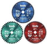 KWB - Set di lame per sega circolare, 250 x 30/25/16 mm, per seghe circolari da tavolo, per materiali per pannelli e materiali da costruzione in legno, con anelli riduttori a 16 e 25 mm