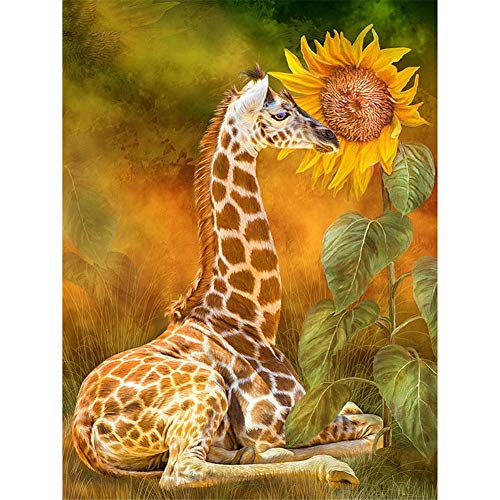 DIY 5D Diamond Painting Kits Full Drill Giraffe Sunflower Pictures Crystal Rhinestone Canvas Cross Stitch Adults/Kids Embroidery Diamond Art Craft for Home Living Bedroom Wall Decor Gift 50x70cm