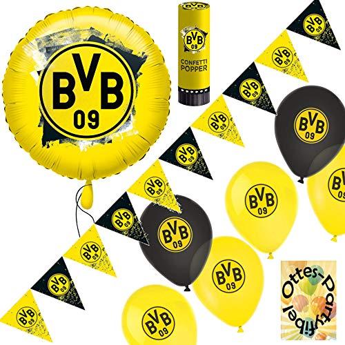 HHO BVB-Dortmund-Party-Set Borussia-Partyset Dekoset 4 Luftballons Folienballon Wimpelkette Konfetti-Popper