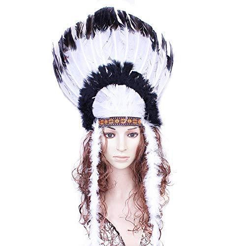 thematys Corona de Cabeza con Cinta de Cabeza India - Hecha de Plumas e imitación de Cuero Carnaval y el Cosplay