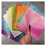 Juego de 50 plantillas cuadradas con purpurina de origami, para álbumes de recortes, tarjetas, papel de manualidades (color: 7 x 14 cm)
