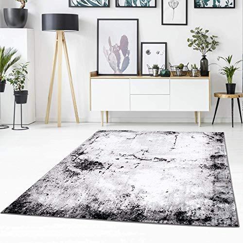 carpet city Teppich Flachflor mit abstrakten Muster, Modern, Meliert in Grau, Weiß für Wohnzimmer; Größe: 80x150 cm