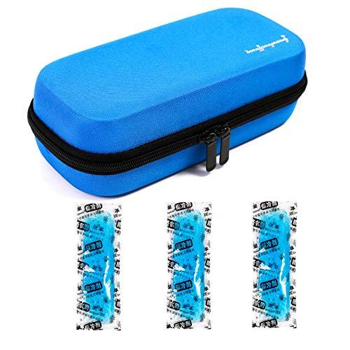 Tragetasche für kühlbare Isolationsbeutel mit Temperaturanzeige EVA Hardshell Wasserdicht Medizinische Versorgung für Diabetiker mit 3 Eispackungen (Blau)