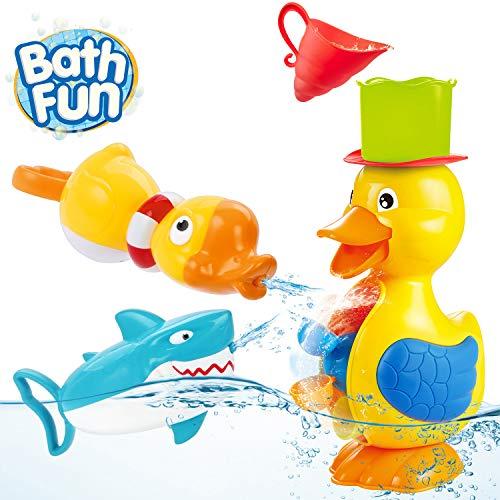 OYE HOYE Badewannenspielzeug für Babys, Ente Hai Badewannenspielzeug Hochwertiges Baby Badespielzeug mit Saugnapf Wasser Spray Badespielzeug für Baby & Kleinkind Dusche und Schwimmen Spielzeug