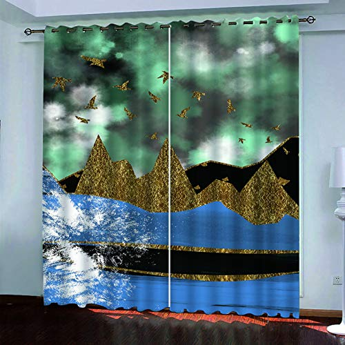 Modern And Simple European Style Curtains, 3D Geometric Printing Perforated Vertical Curtains, Living Room, Bedroom, Garden Balcony, Polyester Waterproof Blackout Curtains (2 Pieces)