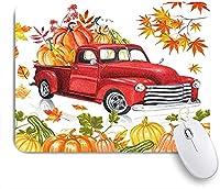 KAPANOU マウスパッド、カボチャと秋のカエデの葉と秋の感謝祭の国の農家のトラックレトロな赤い素朴な秋の農場の収穫車 おしゃれ 耐久性が良い 滑り止めゴム底 ゲーミングなど適用 マウス 用ノートブックコンピュータマウスマット
