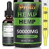 ProtoHemp Natural Oil,Contain Hemp Seed Oil,MCT Oil, NO GMO,GMP Standards, Add Fatty Acid-Omega 3-6-9, Vitamin C-E. (60ml-50000mg)