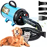 Upgraded Dog Dryer Dog Blow Dryer Dog Hair Dryer 3.2HP Stepless Adjustable Speed Pet Hair Force Dryer Dog Grooming Blower with Heater Dog Quick-Drying with Pet Towel and Massage Comb