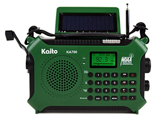 Kaito KA700 Bluetooth Emergency Hand Crank Dynamo & Solar Powered AM FM Weather NOAA Radio with Recorder and MP3 Player - Rugged Design for Hiking, Camping, Construction Sites, Etc.(Green)