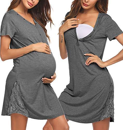 Pinspark Damen Stillnachthemd mit Knopfleiste Kurzarm Stillkleid Knielang Still Nachthemd Geburtshemd Mutterschaftskleid Umstandsmode Kleider Schwangere