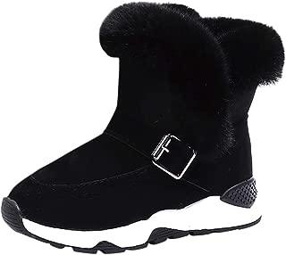 YanHoo Zapatos para niños Botas de Nieve cálidas de Piel de Felpa para niños Botas Cortas Zapatos Niño Piel Rebaño Invierno Botín Zapatos de Nieve cálida Botas Zapatos de otoño e Invierno