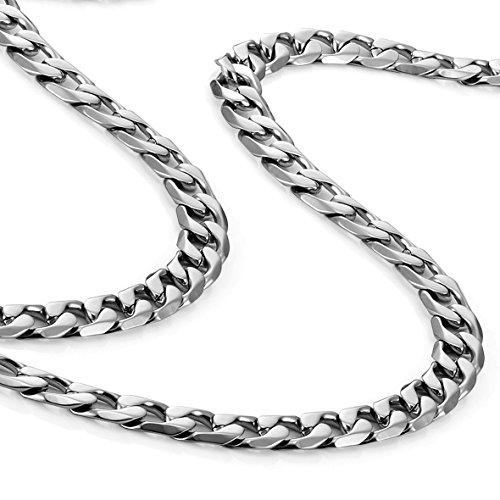 Collana da Uomo Classica in Acciaio Inox 316L Tonalità Argento 46, 54, 59 cm, (6 mm)