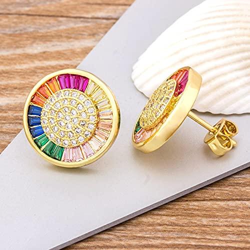 SONGK Pendientes Redondos de Cristal de circonita de Cobre, Pendientes de Amor románticos de Color arcoíris para Mujeres y niñas, Regalo