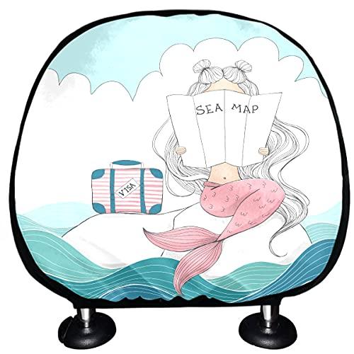 ALALAL Coprisedili per Auto Poggiatesta Digital Mermaid Valigia Lost Sea Travel Copri poggiatesta Set di 2 Universal Fit per Auto Vans Trucks Cuscino poggiatesta Accessori per Interni Auto Moda
