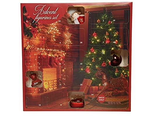 Decoris Calendrier de l'Avent avec décorations pour sapin de Noël - 38 x 38 x 5,5 cm - Boules de Noël en verre - Pendentif nostalgie rouge