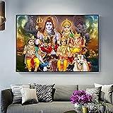 Estilo nórdico 30x50 cm sin marco Shiva Parvati Ganesha arte indio figura de dios hindú cartel religioso impresión cuadro de pared sala de estar Cuadros
