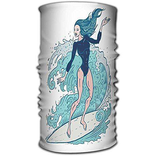 Sciarpa capa multifunzionale, Sciarpa magica, Fascia per il sudore, Yoga, Corsa, Bella donna Tavola da surf Bella donna Tavola da surf Surfer Ragazza Onde S Disegnata a mano