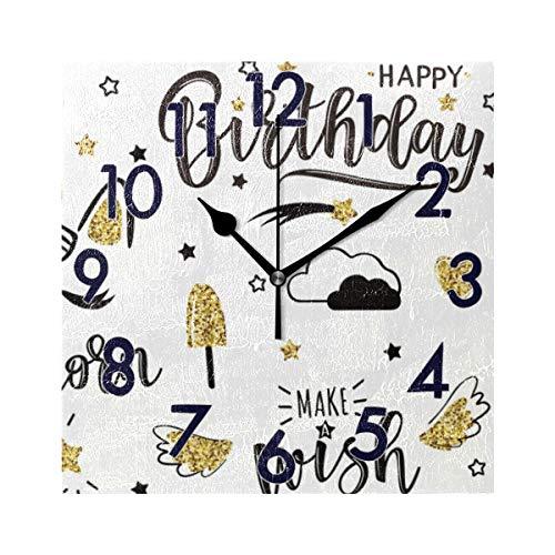 Chic Houses 2031391 - Reloj de Pared Cuadrado, diseño de Unicornio, Gato, Oveja, Helado, Fresa, Meteor, números arábigos, patrón de Dibujos Animados, acrílico, 20 cm