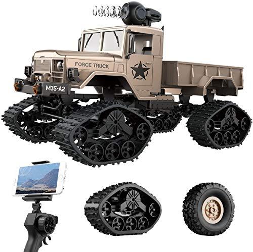 le-idea Coche RC, 1/16 Juguete de Coche Militar de Proporción Completa con Cámara 480P HD FPV, 4WD Coche de Control Remoto para Vehículo Todoterreno Pesado de 2.4GHz, Regalos para Niños Y Niñas