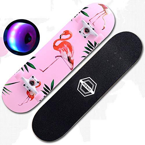 VByge Skateboard Chicas Adultas Principiantes Adolescentes Monopatines Luminoso Doble Alicia Cuatro Ruedas...