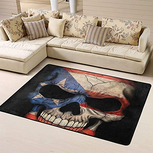 Cozy Flannel Kids Splat Mat Multi-Purpose Drying Fast Puerto Rican Flag Skull Puerto Rico Flags Bath Rug for Living Room Bedroom Washable Rugs for Party Birthday Festival Decoration