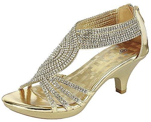 Cambridge Select Women's Open Toe Crisscross Strappy Crystal Rhinestone Mid Heel Sandal,6 B(M) US,Gold