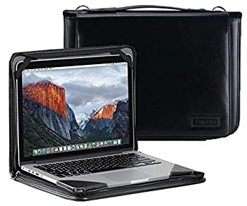 Broonel Black Leather Laptop Messenger Case - Compatible with The ASUS C201PA-DS02 11.6 inch Chromebook