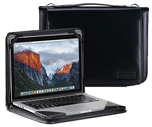 Broonel Black Leather Laptop Messenger Case - Compatible With The Lenovo IdeaPad S145 15.6 Inch