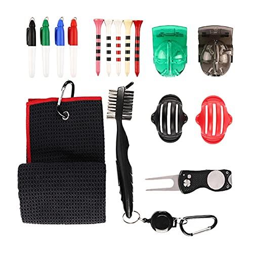 LEAA Kit de Herramientas de Pincel de Toallas de Golf, Toalla de Golf Microfibra con Club Grifo Limpiador de Golf Divot Herramientas de Golf Accesorios de Golf