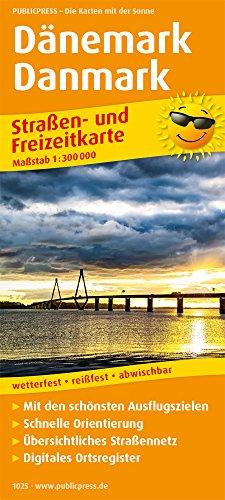 Dänemark, Danmark: Straßen- und Freizeitkarte mit Touristischen Straßen, Highlights der Region und digitalem Ortsregister. 1:300.000 (Straßen- und Freizeitkarte / StuF)