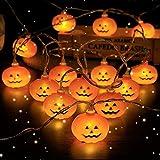 Aischens Luces Calabaza, Halloween Decoracion Calabaza, 5m 30LED Calabaza Cadena de Luces, Utilizada para la Fiesta de Halloween, Vacaciones, Jardín, Casa, Decoración de Interiores y Exteriores