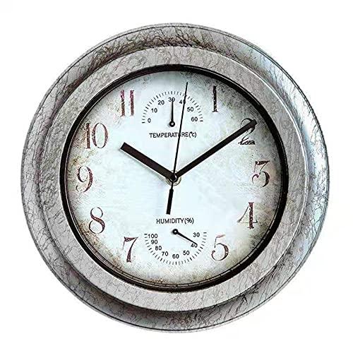 AUEDC Reloj de Pared Impermeable para Exteriores, Redondo de 11 Pulgadas, fácil de Leer con termómetro e higrómetro, para jardín, Patio, Valla, Porche