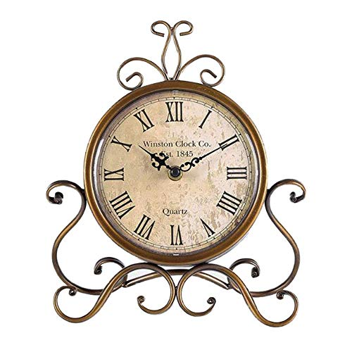 Justup Reloj de mesa vintage, de hierro, silencioso, con pilas, sin tictac, para decoración del hogar, cocina, salón (marrón)
