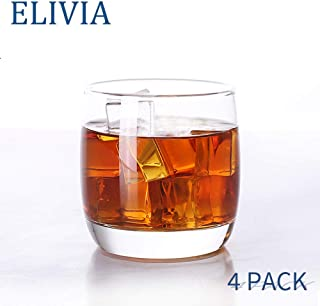 ELIVIA Old Fashioned 10-Ounce Whiskey Glasses Set of 4, Rock Style Lead Free Crystal Glassware for Scotch, Bourbon and Cocktails