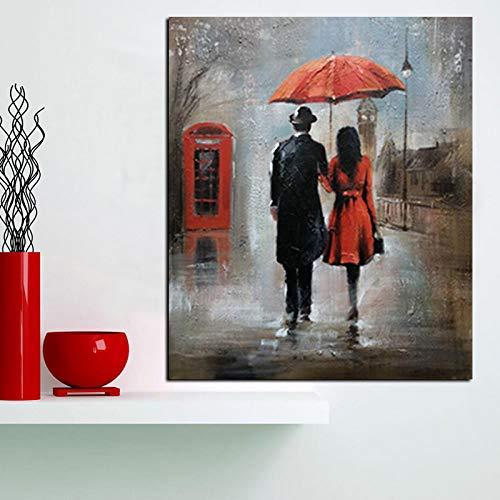 Geiqianjiumai HD print muur art paar romantische regenachtige landschap olieverfschilderij op canvas woonkamer modern